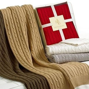 Ralph Lauren Red Cotton Cable Knit Throw Blanket
